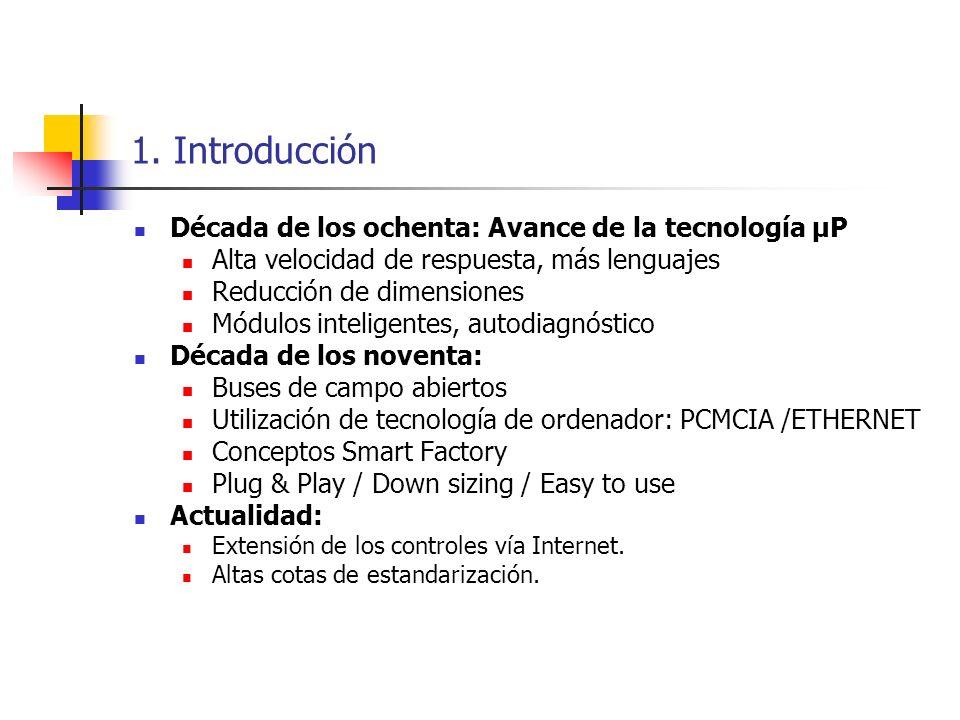1. Introducción Década de los ochenta: Avance de la tecnología µP