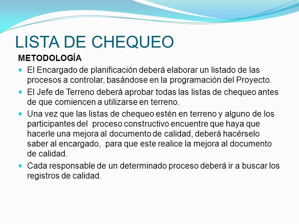 LISTA DE CHEQUEO METODOLOGÍA