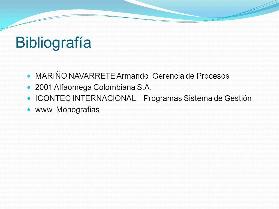 Bibliografía MARIÑO NAVARRETE Armando Gerencia de Procesos