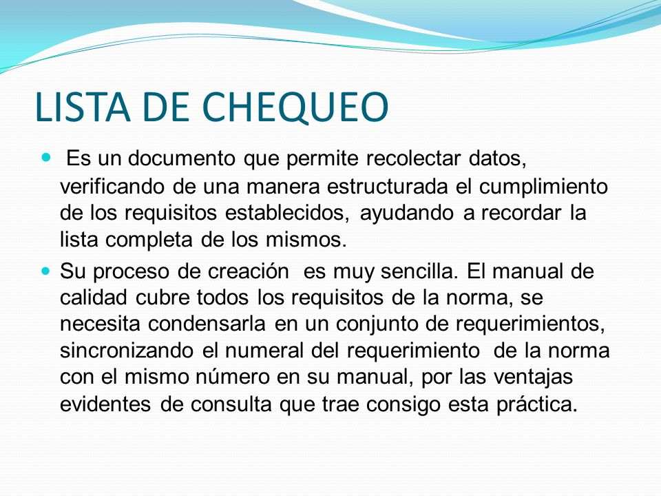 LISTA DE CHEQUEO