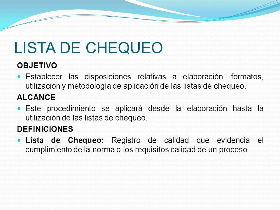 LISTA DE CHEQUEO OBJETIVO