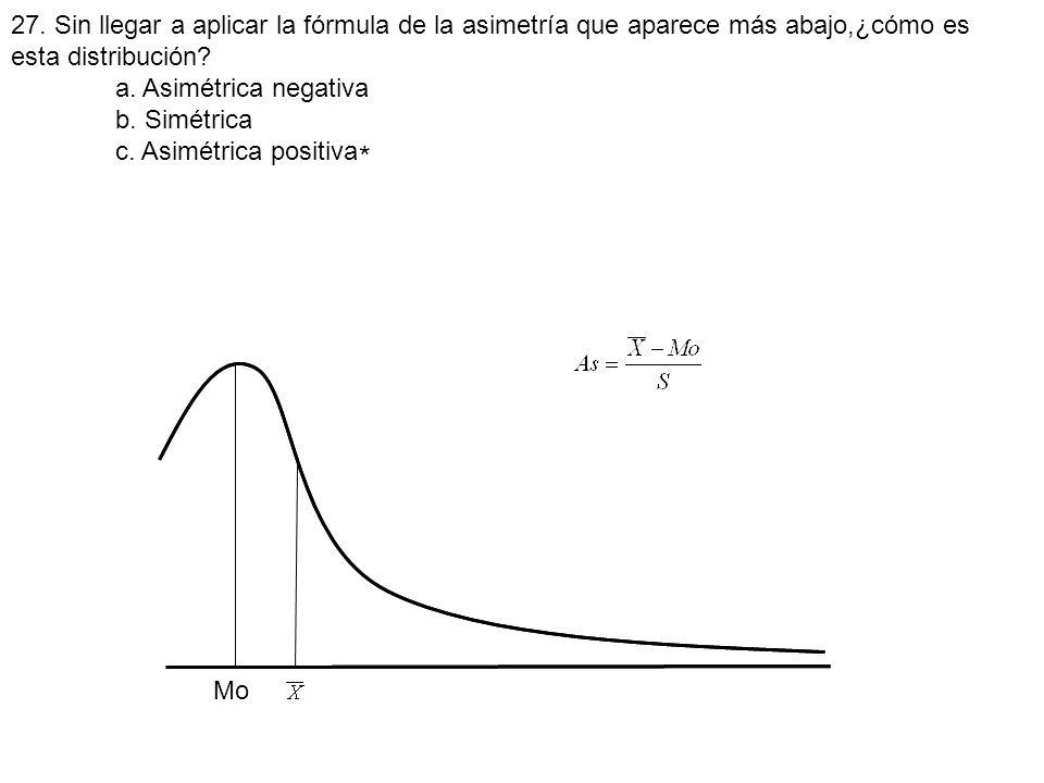 27. Sin llegar a aplicar la fórmula de la asimetría que aparece más abajo,¿cómo es esta distribución