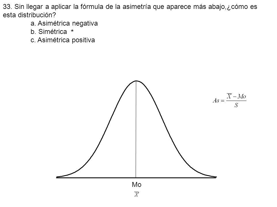 33. Sin llegar a aplicar la fórmula de la asimetría que aparece más abajo,¿cómo es esta distribución
