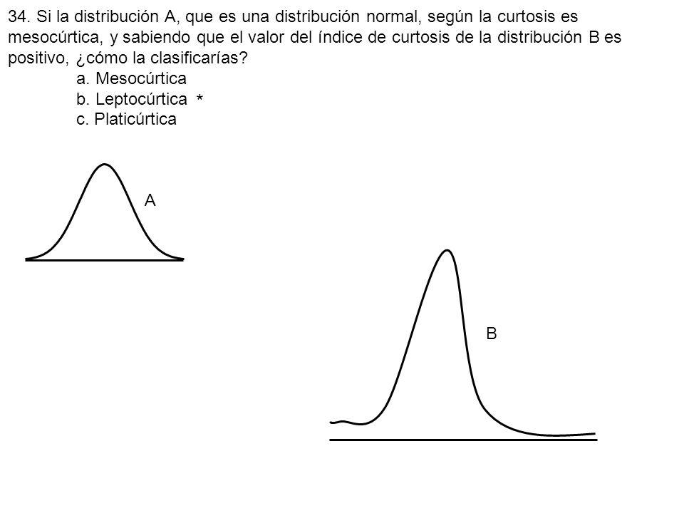 34. Si la distribución A, que es una distribución normal, según la curtosis es mesocúrtica, y sabiendo que el valor del índice de curtosis de la distribución B es positivo, ¿cómo la clasificarías