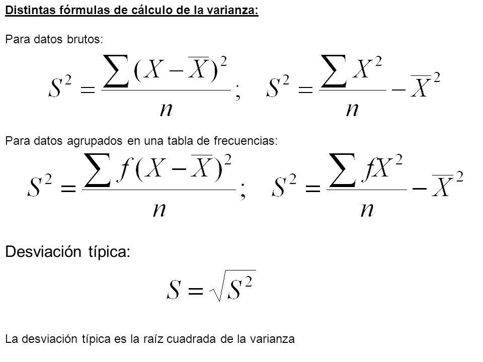 La desviación típica es la raíz cuadrada de la varianza