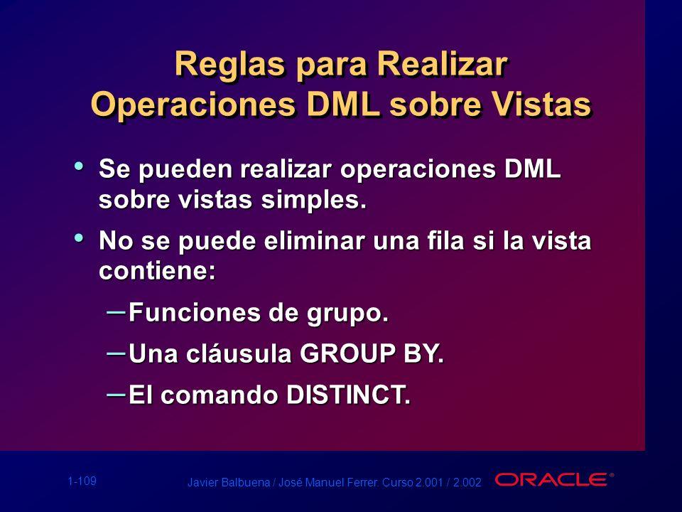 Reglas para Realizar Operaciones DML sobre Vistas