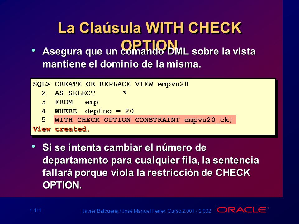 La Claúsula WITH CHECK OPTION
