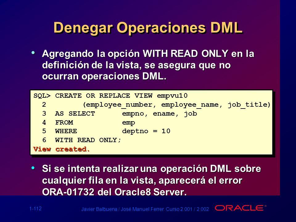 Denegar Operaciones DML