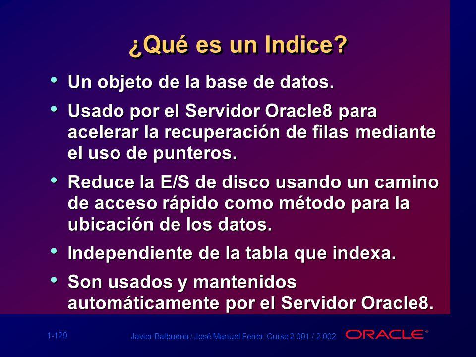 ¿Qué es un Indice Un objeto de la base de datos.