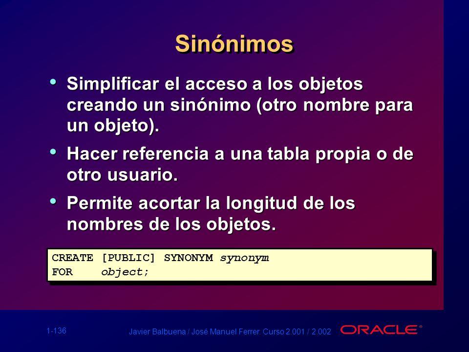 Sinónimos Simplificar el acceso a los objetos creando un sinónimo (otro nombre para un objeto).