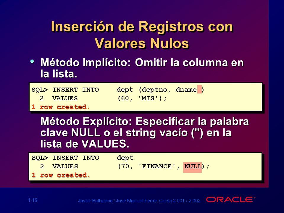 Inserción de Registros con Valores Nulos