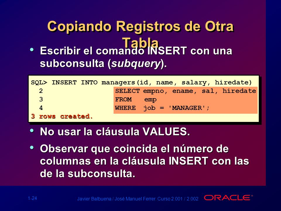 Copiando Registros de Otra Tabla