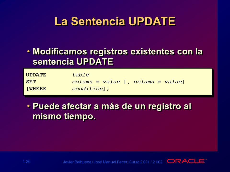 La Sentencia UPDATE Modificamos registros existentes con la sentencia UPDATE. Puede afectar a más de un registro al mismo tiempo.