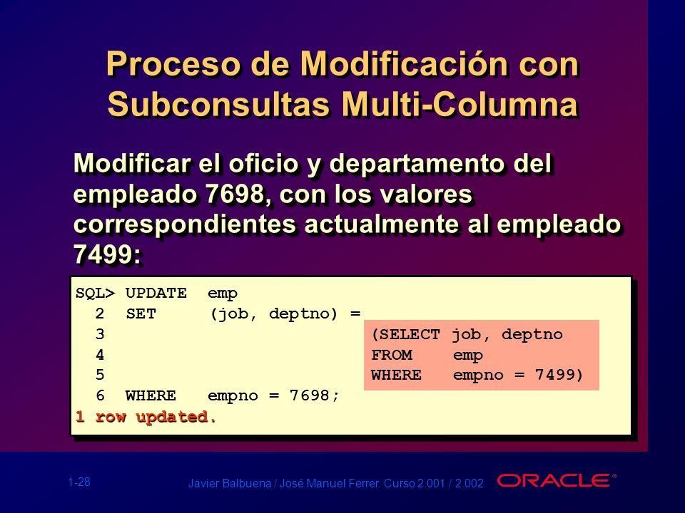 Proceso de Modificación con Subconsultas Multi-Columna