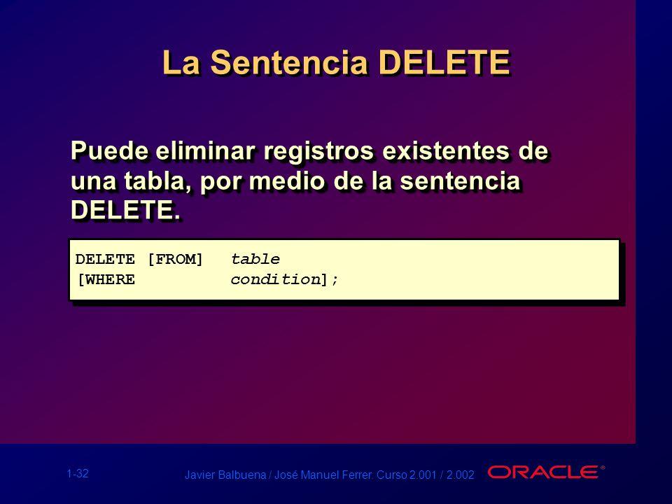 La Sentencia DELETE Puede eliminar registros existentes de una tabla, por medio de la sentencia DELETE.