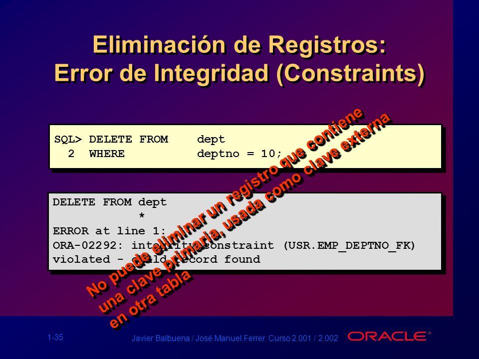 Eliminación de Registros: Error de Integridad (Constraints)