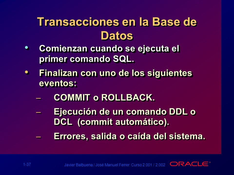 Transacciones en la Base de Datos