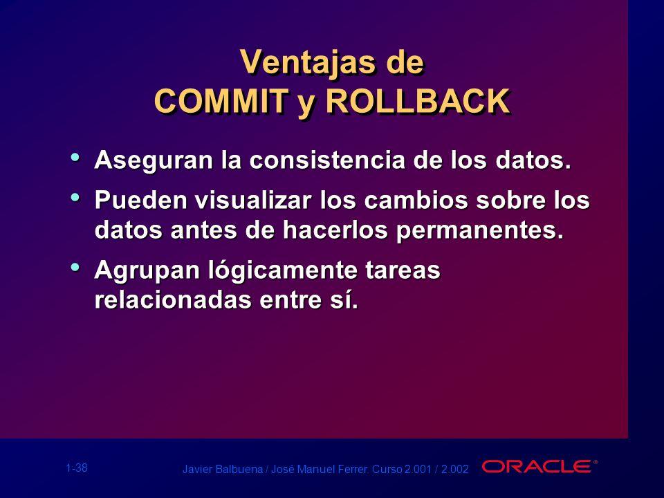 Ventajas de COMMIT y ROLLBACK
