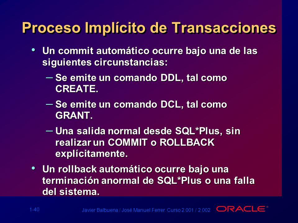 Proceso Implícito de Transacciones