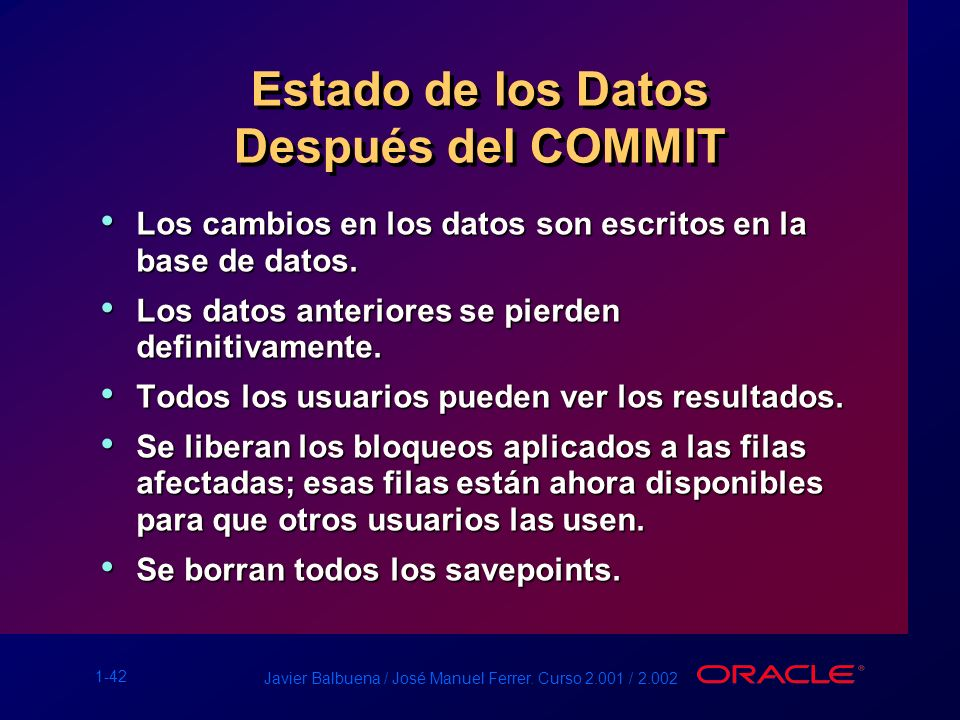 Estado de los Datos Después del COMMIT