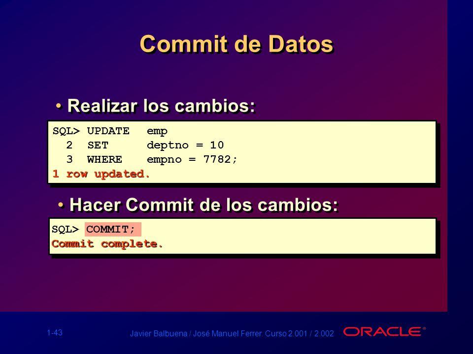 Commit de Datos Realizar los cambios: Hacer Commit de los cambios: