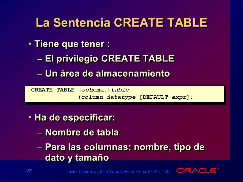 La Sentencia CREATE TABLE