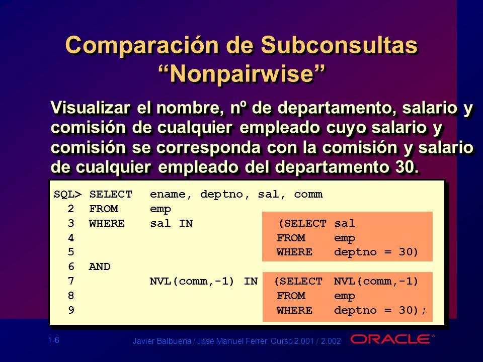 Comparación de Subconsultas Nonpairwise