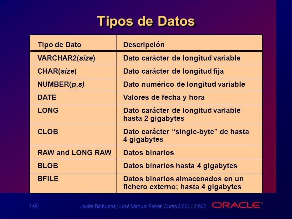 Tipos de Datos Tipo de Dato Descripción