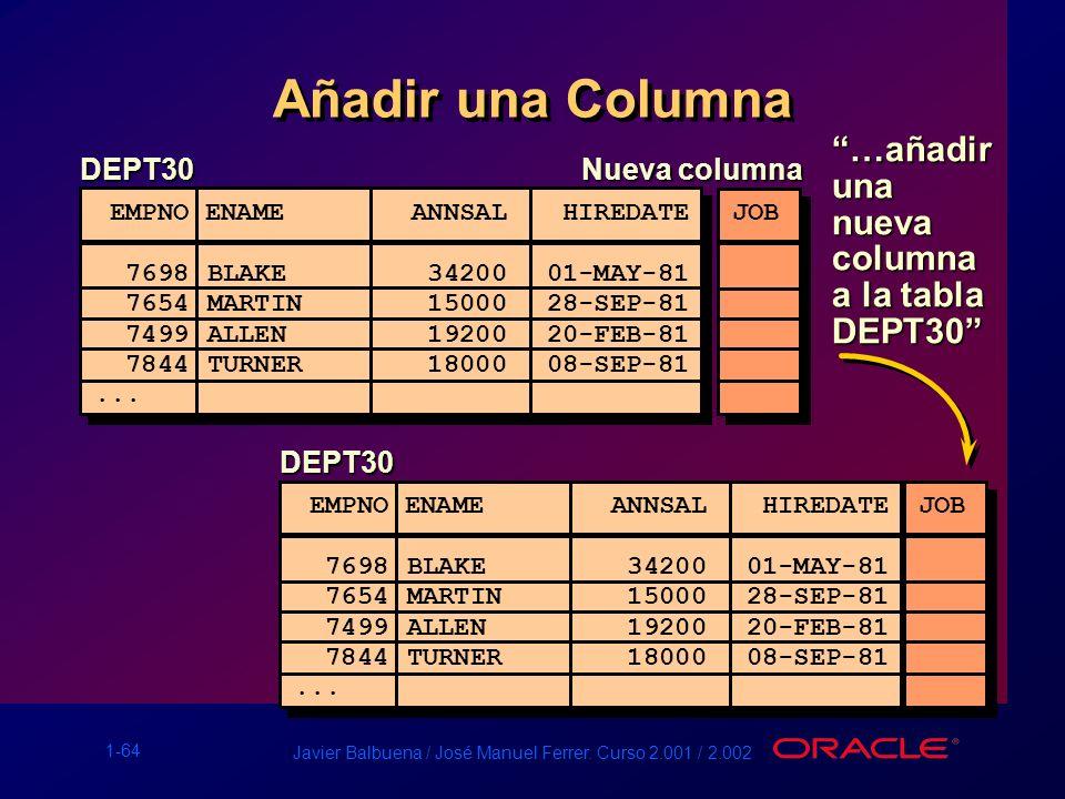 Añadir una Columna …añadir una nueva columna a la tabla DEPT30