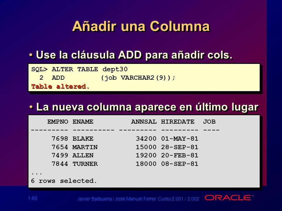 Añadir una Columna Use la cláusula ADD para añadir cols.