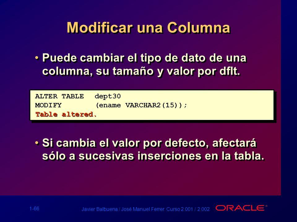 Modificar una Columna Puede cambiar el tipo de dato de una columna, su tamaño y valor por dflt.
