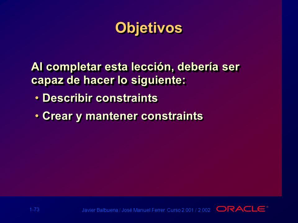 Objetivos Al completar esta lección, debería ser capaz de hacer lo siguiente: Describir constraints.