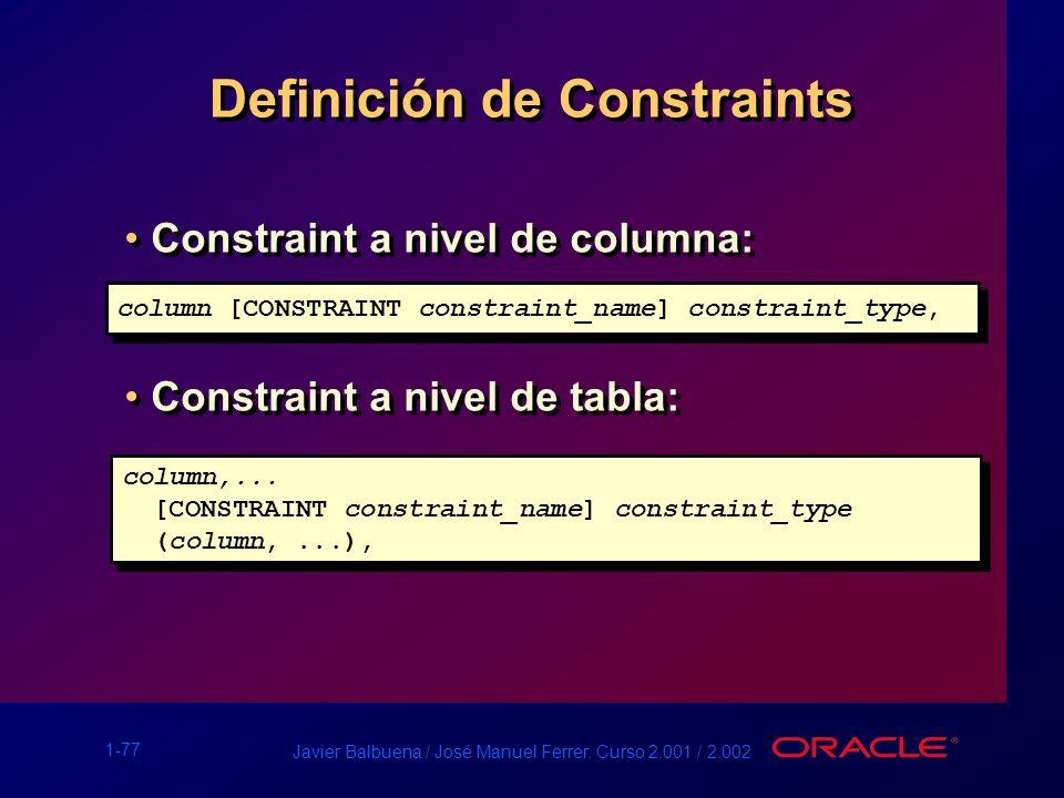 Definición de Constraints