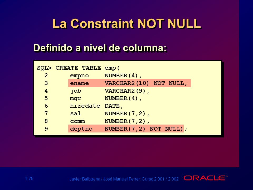 La Constraint NOT NULL Definido a nivel de columna: