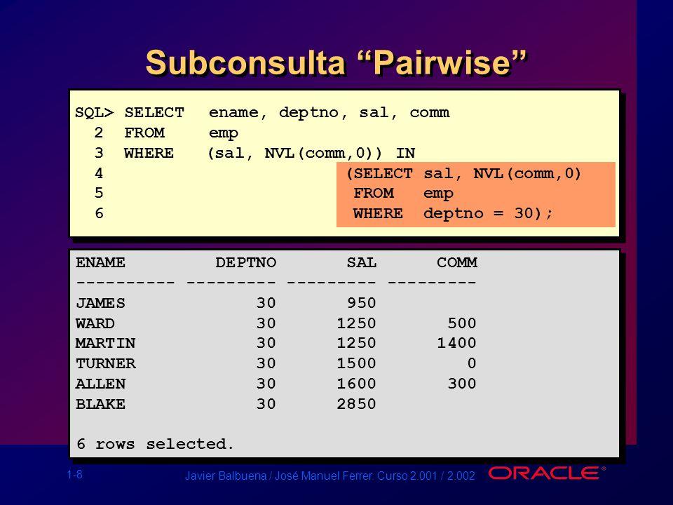 Subconsulta Pairwise
