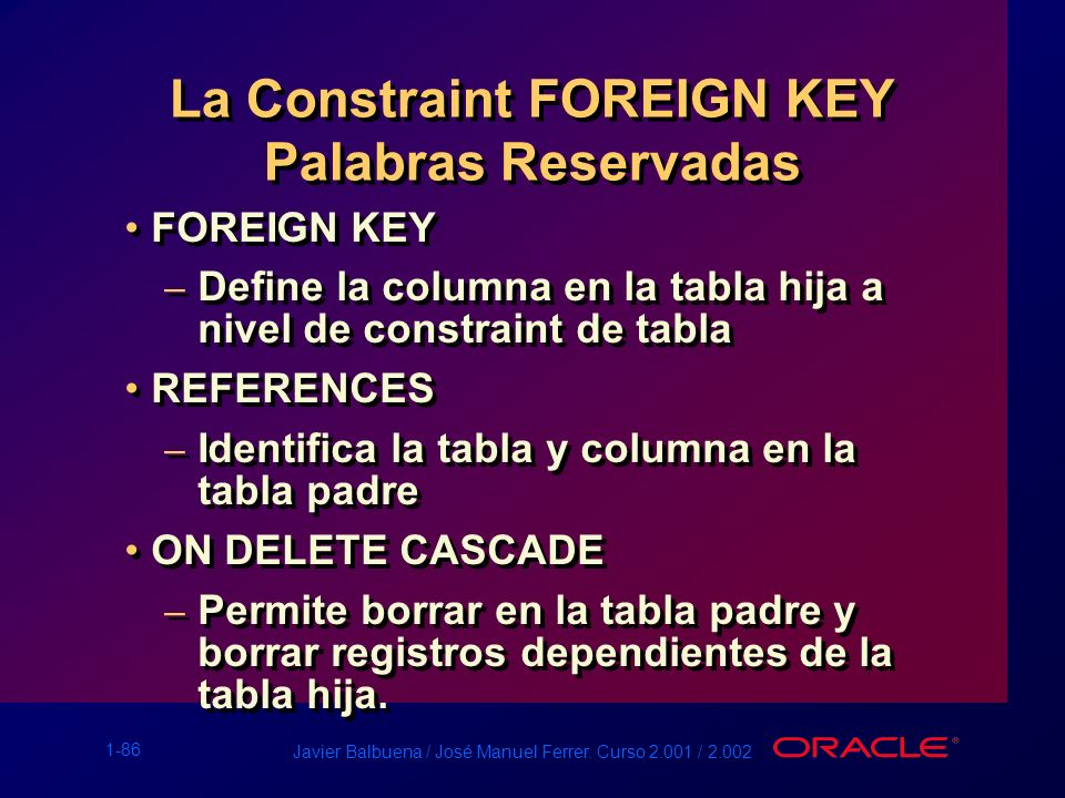 La Constraint FOREIGN KEY Palabras Reservadas