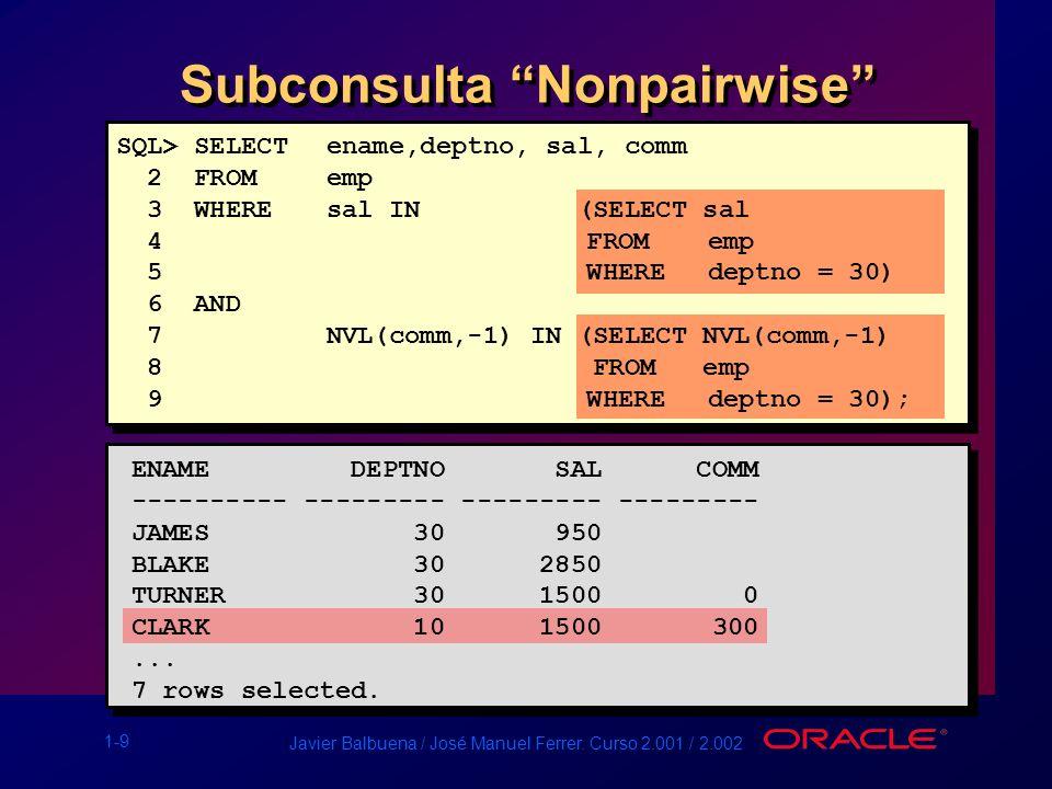 Subconsulta Nonpairwise