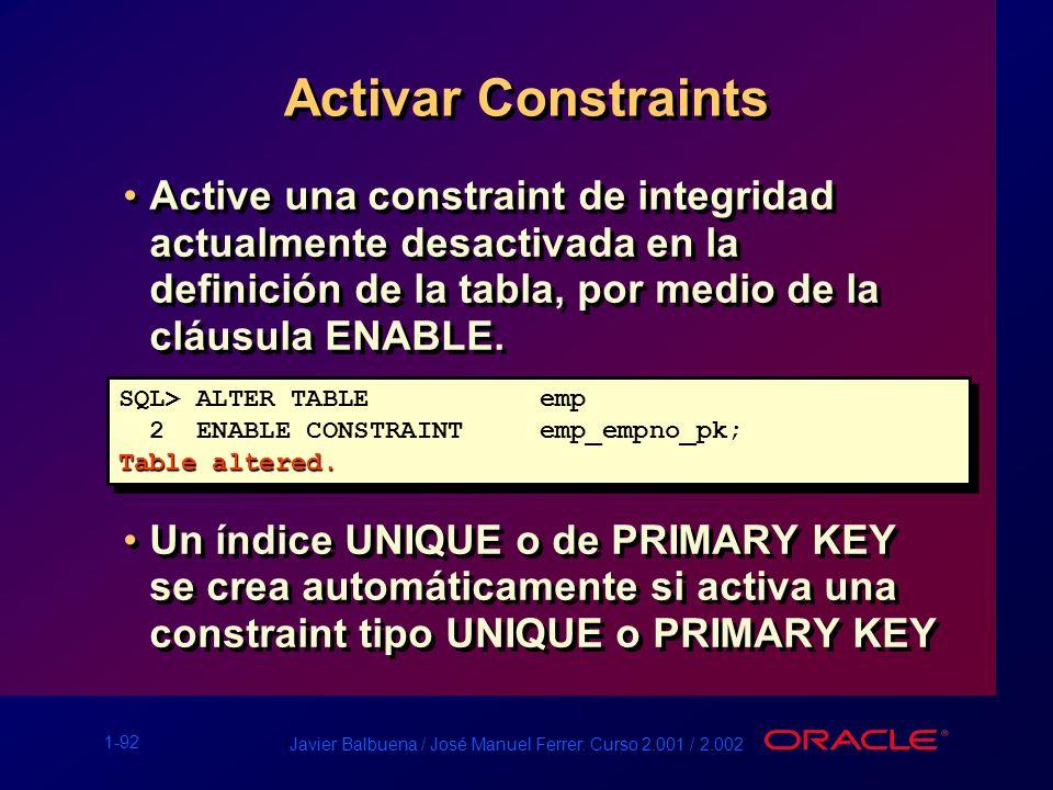 Activar Constraints Active una constraint de integridad actualmente desactivada en la definición de la tabla, por medio de la cláusula ENABLE.
