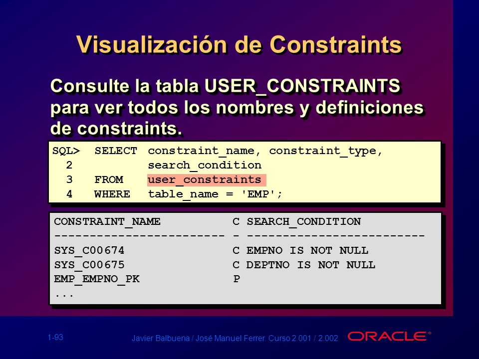 Visualización de Constraints