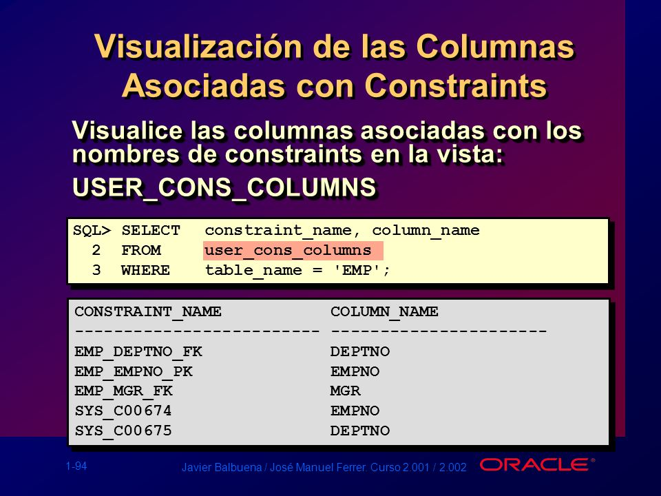 Visualización de las Columnas Asociadas con Constraints