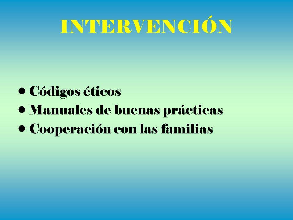 INTERVENCIÓN Códigos éticos Manuales de buenas prácticas