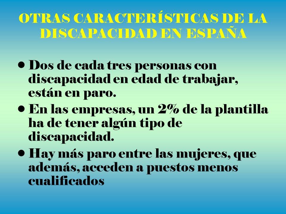 OTRAS CARACTERÍSTICAS DE LA DISCAPACIDAD EN ESPAÑA