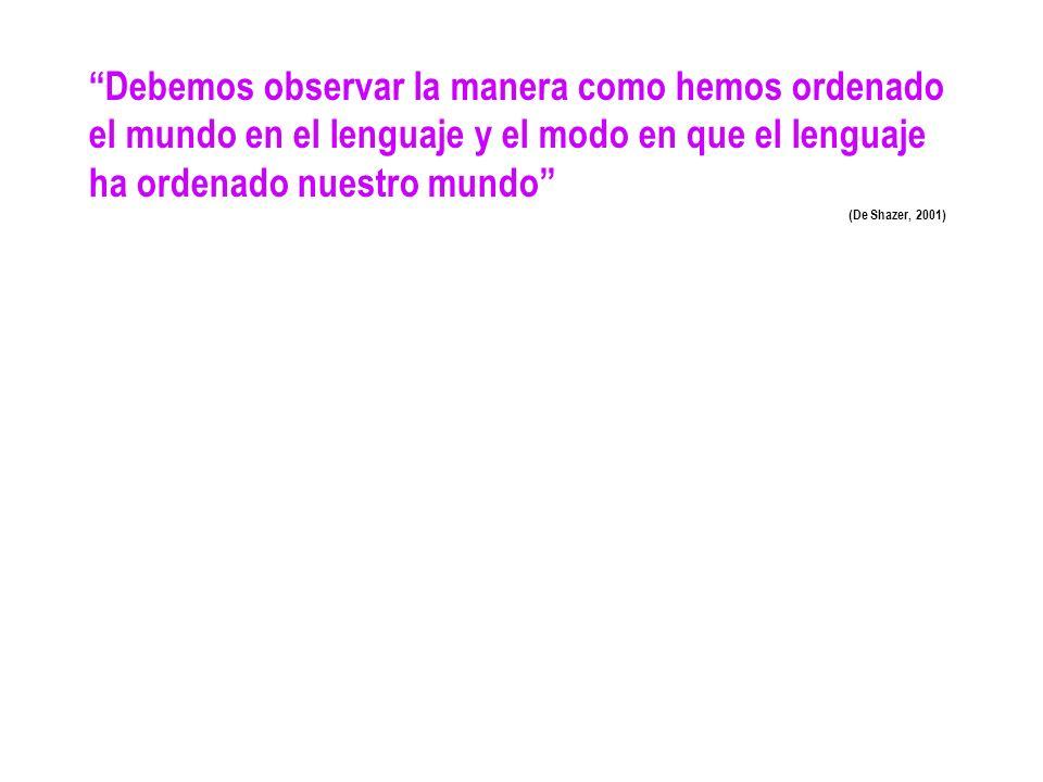 Debemos observar la manera como hemos ordenado el mundo en el lenguaje y el modo en que el lenguaje ha ordenado nuestro mundo