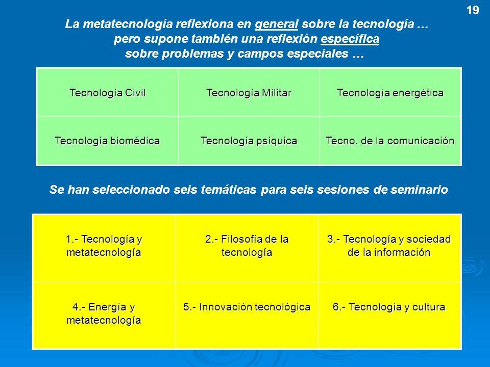 La metatecnología reflexiona en general sobre la tecnología …