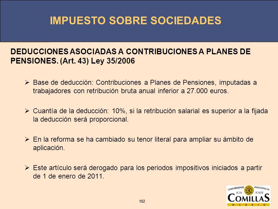 DEDUCCIONES ASOCIADAS A CONTRIBUCIONES A PLANES DE PENSIONES. (Art
