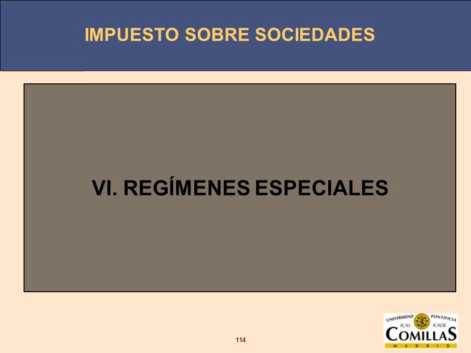 VI. REGÍMENES ESPECIALES