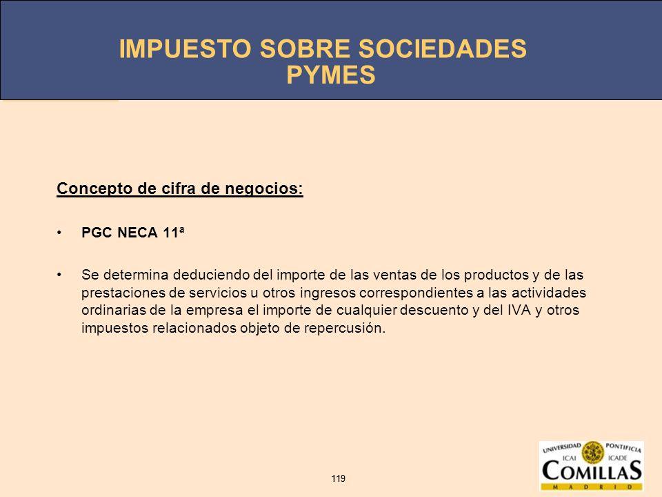 PYMES Concepto de cifra de negocios: PGC NECA 11ª