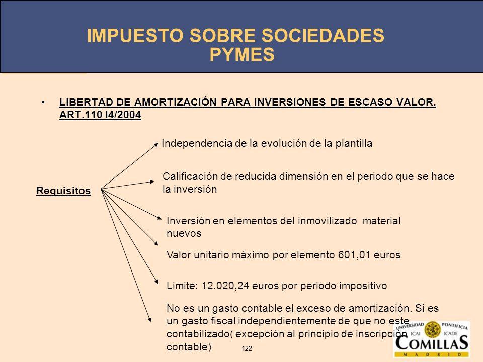 PYMES LIBERTAD DE AMORTIZACIÓN PARA INVERSIONES DE ESCASO VALOR. ART.110 l4/2004. Independencia de la evolución de la plantilla.