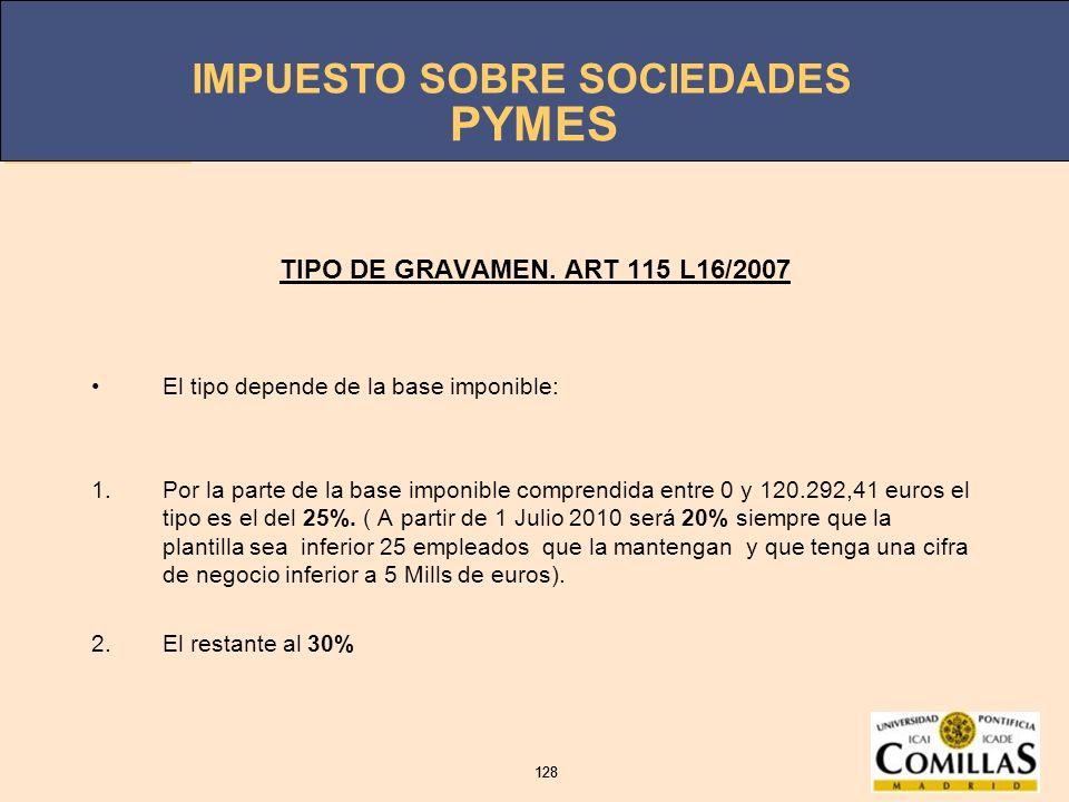 PYMES TIPO DE GRAVAMEN. ART 115 L16/2007