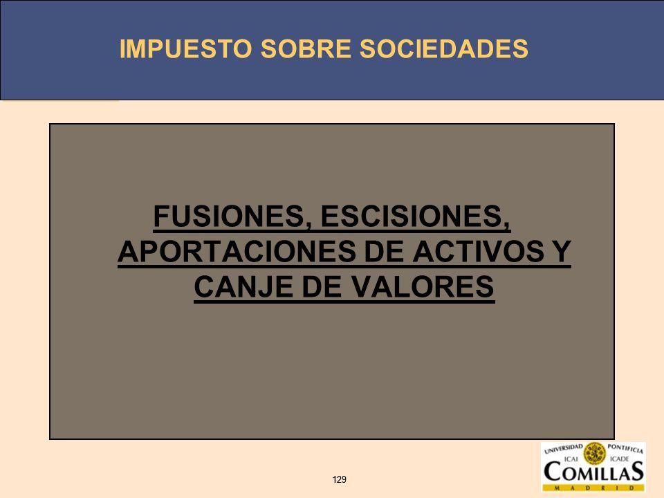 FUSIONES, ESCISIONES, APORTACIONES DE ACTIVOS Y CANJE DE VALORES